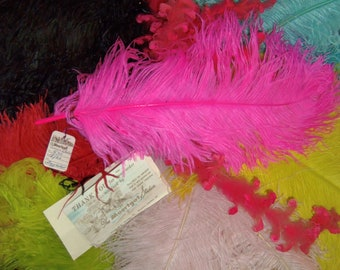 """Vintage Ostrich Feather Hat Millinery Plume Trim HOT PINK 17"""" 1940's feather"""