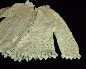 Vintage Baby Infant Doll Crochet Lace Sweater Cardigan 1960's Cream