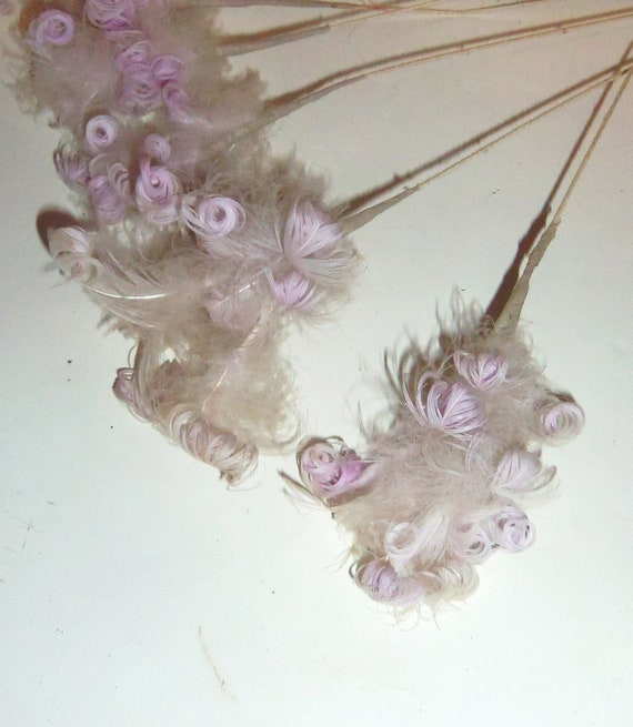 Vintage Millinery Handmade 1950's Purple Ostrich Feather Flower LOT