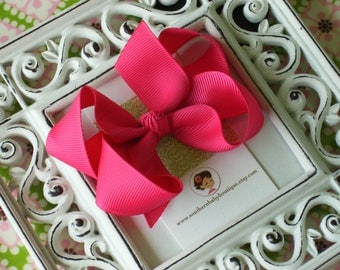 NEW ITEM------Boutique Medium Hair Bow Clip-----Shocking Pink