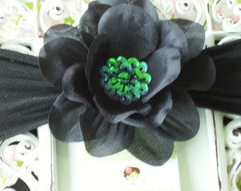 NEW ITEM----Boutique Baby Girl Sequin Flower Clip and NYLON Headband------Black-----Photo Prop