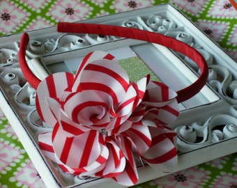 NEW---Rhinestone Striped Satin Flower U-Shape Arched Headband---Red & White Stripe Satin Flower