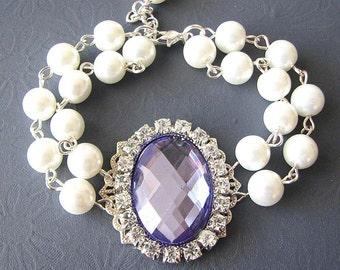 Bridesmaid Jewelry Wedding Bracelet Bridal Jewelry Pearl Bracelet Purple Wedding Jewelry Bridal Bracelet Set Gift