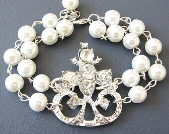 Wedding Bracelet Bridal Jewelry Rhinestone Bracelet Wedding Jewelry Crystal Pearl Bracelet Bridesmaid Gift