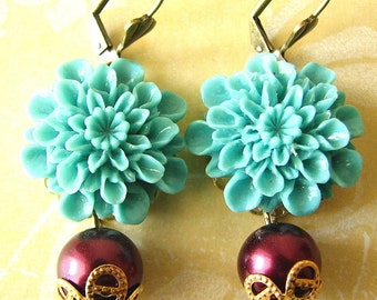 Flower Earrings Turquoise Jewelry Dangle Earrings Drop Earrings Chrysanthemum Burgundy Jewelry Bridesmaid Gift