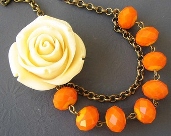 Flower Necklace Orange Jewelry Statement Necklace Bridesmaid Jewelry Ivory Rose Necklace Crystal Necklace Beaded Necklace
