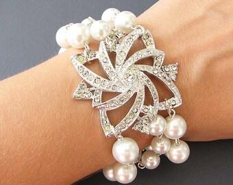 Bridal Bracelet Wedding Jewelry Bridal Jewelry Pearl Bracelet Rhinestone Crystal Bracelet