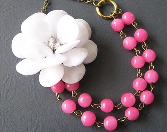 Statement Necklace Bridesmaid Jewelry Flower Necklace Bib Necklace Pink Jewelry Pendant Necklace