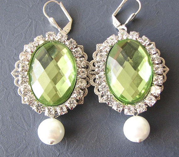 Bridal Earrings Lime  Green Earrings Bridal Jewelry Wedding Rhinestone Earrings Dangle Earrings Wedding Earrings Bridesmaid Gift Set Bride