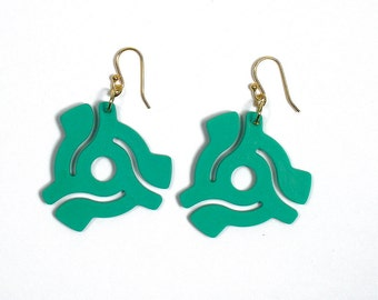 Green 45 rpm Vinyl Record Adapter Earrings Recycled Symbol for Music Enthusiast Adaptor