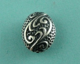 Sterling Silver Bali  Oval Wave Beads-14.5 x 6 x 11.5
