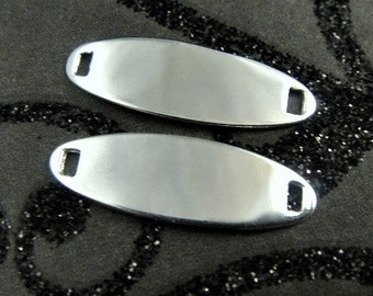 Sterling Silver Oval ID Tags Stamping Blanks 2 pcs - 20.2x6.4mm 22ga