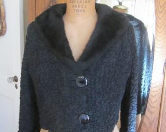 Vintage Black Persian Lamb Croppy Jacket with Collar