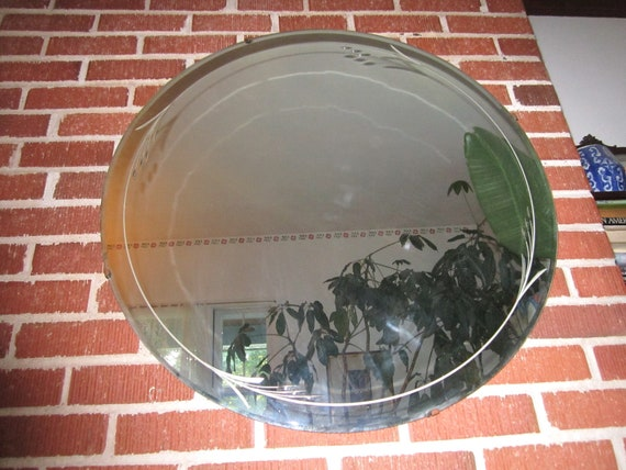 Vintage 1920s/30s Art Deco Large 30 Inch Round Etched Wall Mirror