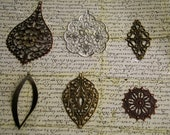 36 pc - Assorted filigree stamping 6pcs each style - boho -  Antique style lace pendant earring drop