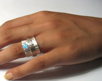 Brushed,curved  silver ring with flower design spinner and a pearl or a stone-Talk to Me with Flowers