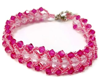 Pink Hand Beaded Bracelet, Beaded Cuff Bracelet, Pink Crystal Bracelet, Bead Weaving