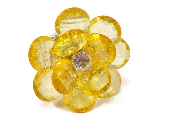 Large Yellow Flower Cocktail Ring Yellow Gold Acrylic Stretch Band