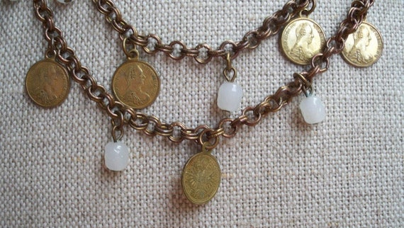 Vintage Signed Miriam Haskell Coin and Glass Bead Necklace