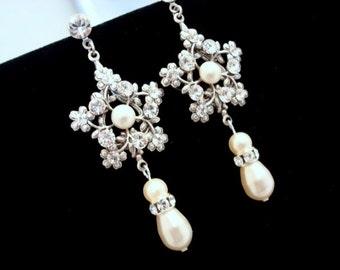 Pearl Bridal earrings, Vintage wedding earrings, Long Bridal earrings, wedding jewelry, vintage style earrings, bridesmaid jewelry