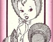 Bonnet w/Wide Brim Knitting Pattern Vintage 726022