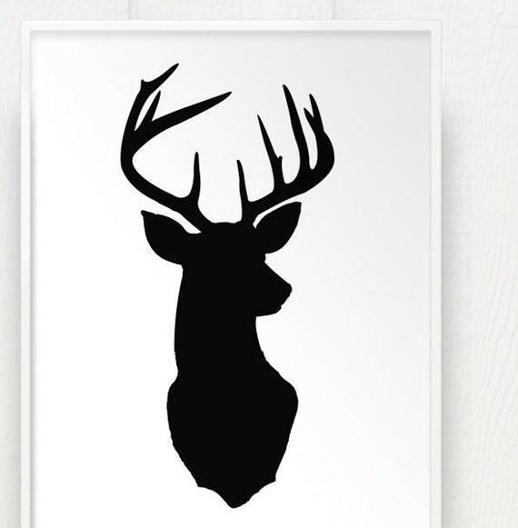 Deer Head Print Silhouette - Color on White Background - Deer Oh Deer ...