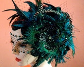 Ultra Peacock Feather Headpiece & Jeweled Netting Mask Set - by Moonshine Baby