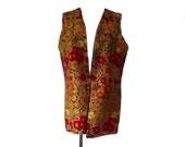 Carpet Vest Vintage 60s Alladin Vest Boho Hippie Style 38 Inch Waist