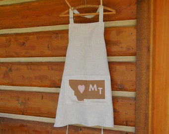 Linen Apron with Montana Map pocket natural color