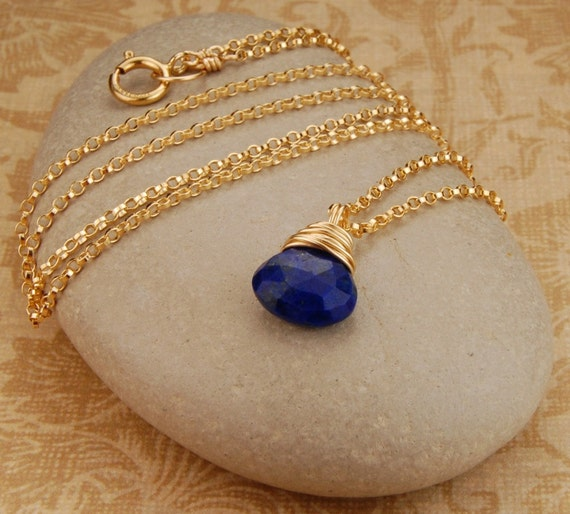 Blue lapis necklace, wire wrapped gemstone pendant, 14k gold filled, minimalist, simple necklace by revelling jewelry