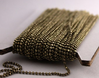 Raw Brass facet BALL Chain - 100 ft. spool of Bulk Ball chain Necklace Bracelet Wholesale - 1.5mm w/ FREE 100 connectors (Crimp)