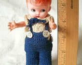 Vintage Plastic Boy Rattle Doll with Cute Crocheted Blue & White Outfit