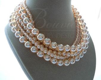 Champagne -- Champagne Quartz Multi-Strand Gemstone necklace