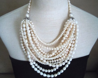 Ateliers -- One of a Kind -- 11-Strand Freshwater Pearl Statement Bib necklace