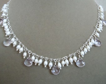 NEW MARKDOWN: Solstice -- Pink Topaz and Freshwater Pearl necklace