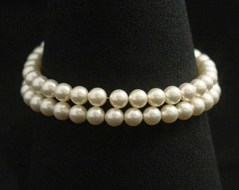 Double Strand Pearl Bracelet, Gold, Bridesmaid Jewelry, Bridal Pearl Cuff Wedding Bracelet -- EMMARIE II