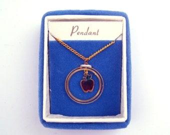 Vintage Apple Necklace 1970s Tiny Gold Tone