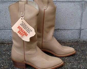 Cowboy Boots Vintage 1970s Durango Light Tan Mens 8