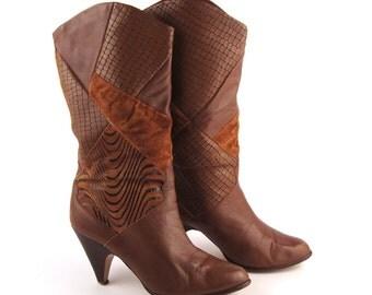 Brown Boots Vintage 1980s Heel Flings Women's size 6