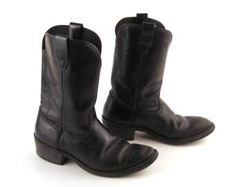 Boots Cowboy Roper Vintage 1970s Black Leather Boots Men's 8  D