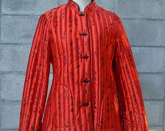 70s Quilted Jacket Vintage 1970s Shiny Red Chinese Characters Boho Coat