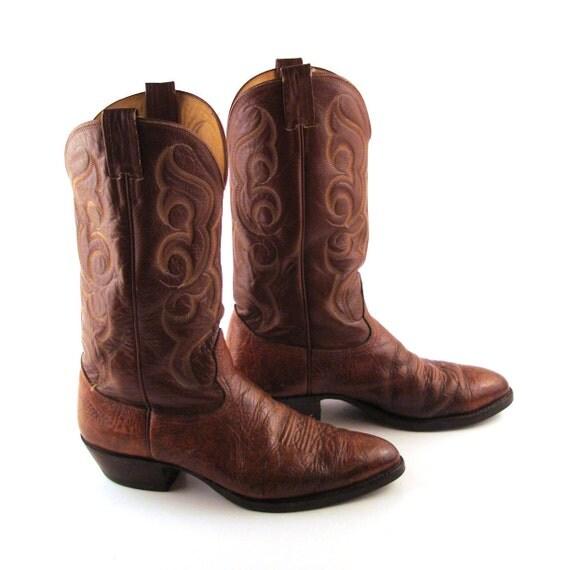 Nocona Cowboy Boots Vintage 1980s Carmel Brown Nocona Cowboy Leather Boots Men's 10 1/2