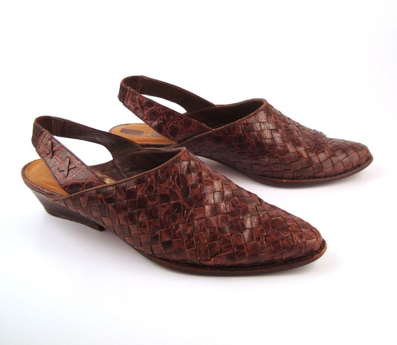 Woven Leather Shoes Brown Vintage 1980s Bandolino Women's size 8