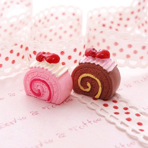 Kawaii Cabochon Fake Sweets Decoden Strawberry Shortcake Roll (6pcs) NO PINK