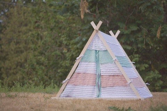 Kids A-Frame Teepee Play Tent Cover with tri-color ruffles by Teepee and Tent