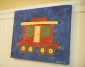 Train caboose canvas painting 11 x 14 Original hand painted Boy room decor Baby nursery Children wall art Kid bedroom Transportation Travel