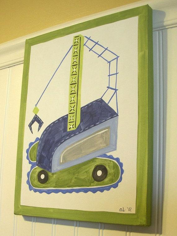 Boy room decor Baby nursery wall art Original canvas painting