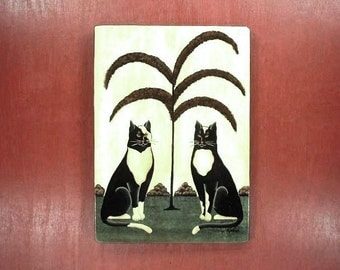 Cats in Black & White Hand Painted Wood Plaque 500