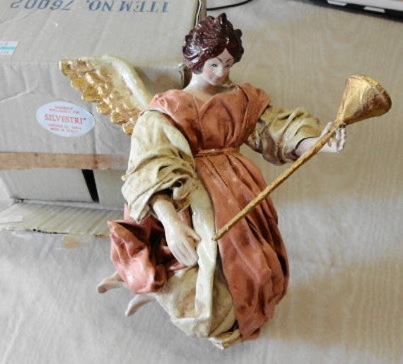 Vintage Silvestri Paper Mache Angel with Horn-1980s Tree Topper or Lg. Ornament