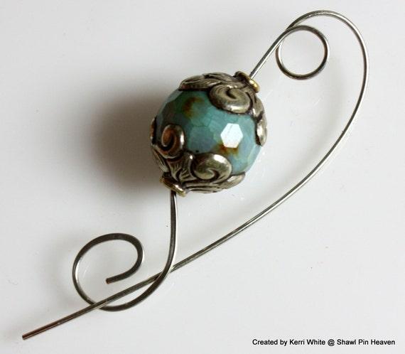 Shawl Pin, Scarf Pin, Brooch - Rainbow Jade Tibetan Bead